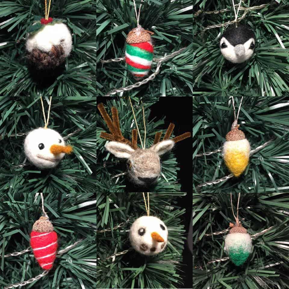 Felt Christmas Decorations Uk.Needle Felted Christmas Baubles Mini Workshop Ebberston